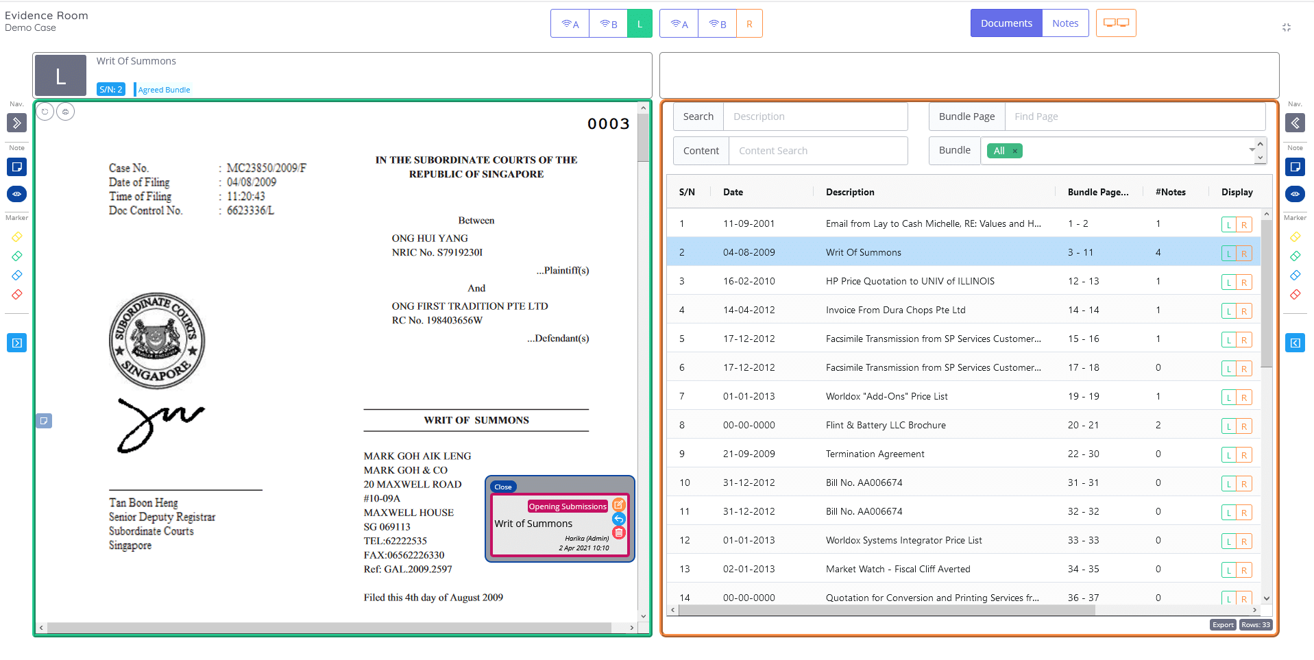 InSync Evidence Platform - Side By Side Viewer